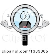 Clipart Of A Cartoon Scared Magnifying Glass Character Screaming Royalty Free Vector Illustration by Cory Thoman