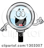 Clipart Of A Cartoon Smart Magnifying Glass Character With An Idea Royalty Free Vector Illustration by Cory Thoman