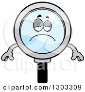 Clipart Of A Cartoon Sad Depressed Magnifying Glass Character Pouting Royalty Free Vector Illustration by Cory Thoman