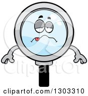 Clipart Of A Cartoon Sick Or Drunk Magnifying Glass Character Royalty Free Vector Illustration by Cory Thoman