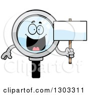 Clipart Of A Cartoon Happy Magnifying Glass Character Holding A Blank Sign Royalty Free Vector Illustration by Cory Thoman