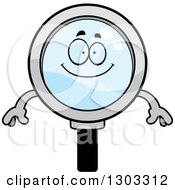 Clipart Of A Cartoon Happy Magnifying Glass Character Smiling Royalty Free Vector Illustration