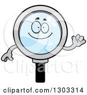 Clipart Of A Cartoon Friendly Magnifying Glass Character Waving Royalty Free Vector Illustration by Cory Thoman