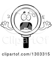 Lineart Clipart Of A Cartoon Black And White Scared Magnifying Glass Character Screaming Royalty Free Outline Vector Illustration by Cory Thoman