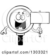 Lineart Clipart Of A Cartoon Black And White Happy Magnifying Glass Character Holding A Blank Sign Royalty Free Outline Vector Illustration by Cory Thoman