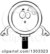 Lineart Clipart Of A Cartoon Black And White Surprised Magnifying Glass Character Gasping Royalty Free Outline Vector Illustration