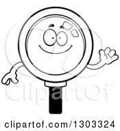 Lineart Clipart Of A Cartoon Black And White Friendly Magnifying Glass Character Waving Royalty Free Outline Vector Illustration by Cory Thoman