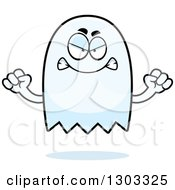 Clipart Of A Cartoon Angry Ghost Character Waving Fists Royalty Free Vector Illustration