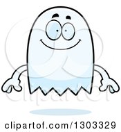 Clipart Of A Cartoon Happy Ghost Character Smiling Royalty Free Vector Illustration by Cory Thoman