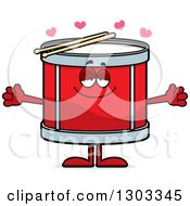 Clipart Of A Cartoon Loving Musical Drums Character With Open Arms And Hearts Royalty Free Vector Illustration by Cory Thoman