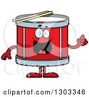 Clipart Of A Cartoon Smart Musical Drums Character With An Idea Royalty Free Vector Illustration by Cory Thoman