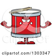 Clipart Of A Cartoon Mad Musical Drums Character Waving Fists Royalty Free Vector Illustration by Cory Thoman