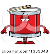 Clipart Of A Cartoon Sad Depressed Musical Drums Character Pouting Royalty Free Vector Illustration by Cory Thoman