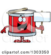 Clipart Of A Cartoon Happy Musical Drums Character Holding A Blank Sign Royalty Free Vector Illustration by Cory Thoman