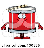 Clipart Of A Cartoon Happy Musical Drums Character Smiling Royalty Free Vector Illustration
