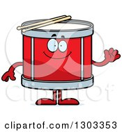 Clipart Of A Cartoon Happy Friendly Musical Drums Character Waving Royalty Free Vector Illustration by Cory Thoman