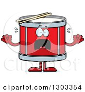 Clipart Of A Cartoon Scared Musical Drums Character Screaming Royalty Free Vector Illustration by Cory Thoman