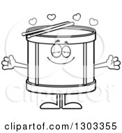 Outline Clipart Of A Cartoon Black And White Loving Musical Drums Character With Open Arms And Hearts Royalty Free Lineart Vector Illustration by Cory Thoman