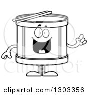 Outline Clipart Of A Cartoon Black And White Smart Musical Drums Character With An Idea Royalty Free Lineart Vector Illustration by Cory Thoman