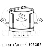 Outline Clipart Of A Cartoon Black And White Mad Musical Drums Character Waving Fists Royalty Free Lineart Vector Illustration by Cory Thoman