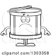 Outline Clipart Of A Cartoon Black And White Sad Depressed Musical Drums Character Pouting Royalty Free Lineart Vector Illustration by Cory Thoman