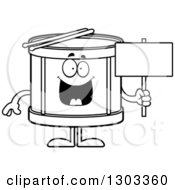 Outline Clipart Of A Cartoon Black And White Happy Musical Drums Character Holding A Blank Sign Royalty Free Lineart Vector Illustration by Cory Thoman