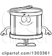 Outline Clipart Of A Cartoon Black And White Happy Musical Drums Character Smiling Royalty Free Lineart Vector Illustration by Cory Thoman
