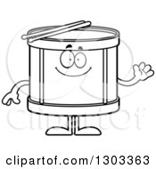 Outline Clipart Of A Cartoon Black And White Happy Friendly Musical Drums Character Waving Royalty Free Lineart Vector Illustration by Cory Thoman