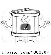 Outline Clipart Of A Cartoon Black And White Scared Musical Drums Character Screaming Royalty Free Lineart Vector Illustration by Cory Thoman
