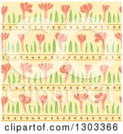 Clipart Of A Seamless Pattern Background Of Spring Flowers On Yellow Royalty Free Vector Illustration