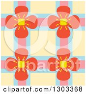Clipart Of A Seamless Pattern Background Of Flowers And Lattice Over Yellow Royalty Free Vector Illustration