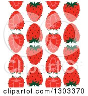 Clipart Of A Seamless Pattern Background Of Strawberry Halves Royalty Free Vector Illustration by Cherie Reve