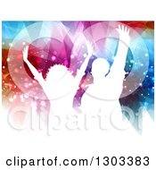Clipart Of White Silhouetted Dancers Against Flares And Geometric Lights Royalty Free Vector Illustration