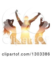 Clipart Of Sunset Themed Sparkling Silhouetted Dancers On White Royalty Free Vector Illustration