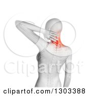 Clipart Of A 3d Anatomical Woman With Glowing Neck Pain And A Visible Skeleton Over White Royalty Free Illustration