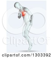 Clipart Of A 3d Anatomical Man Clutching His Painful Chest Royalty Free Illustration