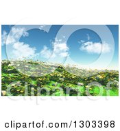 Clipart Of A 3d Hillside With Grass Buttercup And Daisy Flowers Against A Sky With Puffy Clouds Royalty Free Illustration