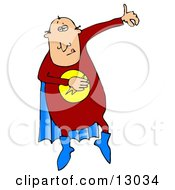 Super Hero Man In A Red Uniform And Blue Cape Clipart Illustration