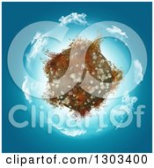 Clipart Of A 3d Globe With Rocks And Grass Over A Circle Of Clouds And Blue Royalty Free Illustration by KJ Pargeter