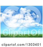Clipart Of A Background Of Clouds And Sun Shining Down On 3d Green Spring Grass Royalty Free Illustration by KJ Pargeter