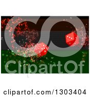 Clipart Of 3d Rolling Red Dice With Magic Flares Royalty Free Illustration by KJ Pargeter