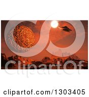 Clipart Of A 3d Foreign Planet Landscape With A Spaceship And Sun Royalty Free Illustration by KJ Pargeter