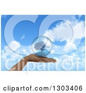 Clipart Of A 3d Caucasian Female Hand Holding A Tree In A Sphere Over Blue Sky And Clouds Royalty Free Illustration