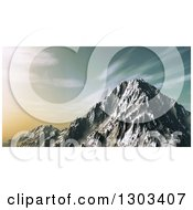 Clipart Of A 3d Snowy Mountain Peak Against A Sunset Sky Royalty Free Illustration