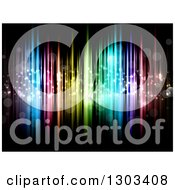 Clipart Of A Background Of Colorful Lights And Bokeh Flares On Black Royalty Free Vector Illustration by KJ Pargeter