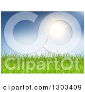 Clipart Of A Sun And Flares Over Green Grass And Blue Sky Royalty Free Vector Illustration by KJ Pargeter