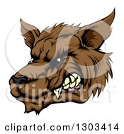 Clipart Of A Growling Brown Wolf Head Royalty Free Vector Illustration