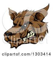 Growling Brown Wolf Head