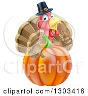 Clipart Of A Pleased Thanksgiving Turkey Bird Wearing A Pilgrim Hat And Giving A Thumb Up Over A Pumpkin Royalty Free Vector Illustration