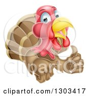Clipart Of A Turkey Bird Giving A Thumb Up Royalty Free Vector Illustration